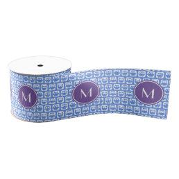 Lilac Monogram Blue and White Owl Pattern N1 Grosgrain Ribbon