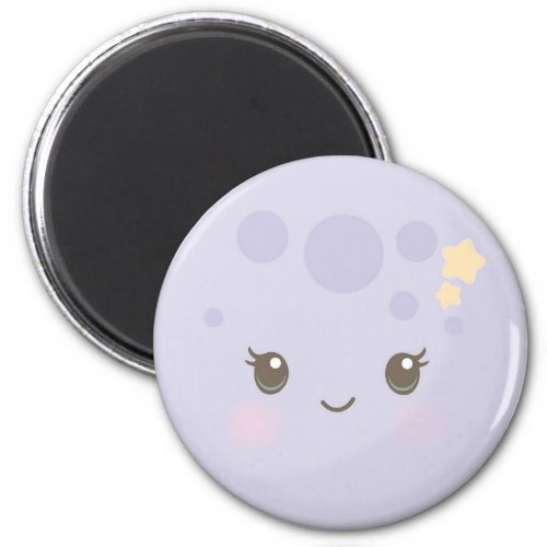 Lilac Moon Round Magnet