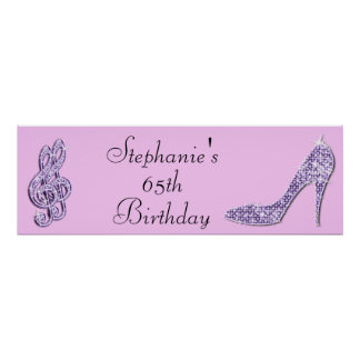 Lilac Music Note and Stiletto 65th Birthday Poster