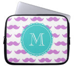 Lilac Mustache Pattern, Aqua White Monogram Laptop Sleeve