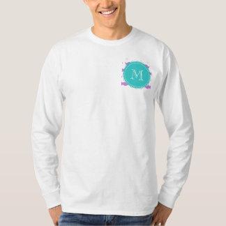 Lilac Mustache Pattern, Aqua White Monogram T-Shirt