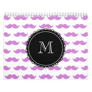 Lilac Mustache Pattern, Black White Monogram Calendar