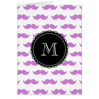 Lilac Mustache Pattern, Black White Monogram Card