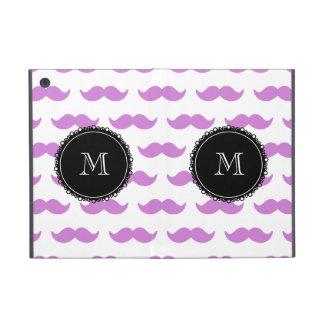 Lilac Mustache Pattern, Black White Monogram Case For iPad Mini