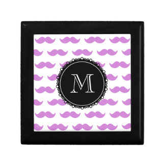 Lilac Mustache Pattern Black White Monogram Keepsake Box