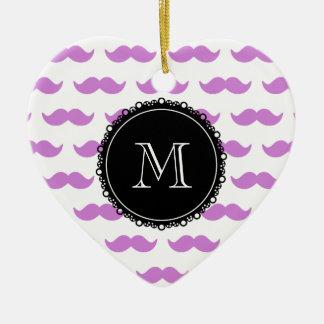 Lilac Mustache Pattern, Black White Monogram Double-Sided Heart Ceramic Christmas Ornament