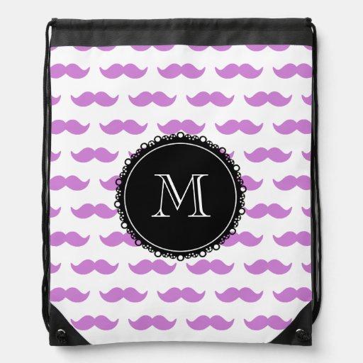 Lilac Mustache Pattern, Black White Monogram Cinch Bags