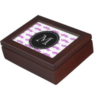 Lilac Mustache Pattern Black White Monogram Memory Box