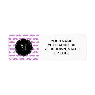 Lilac Mustache Pattern, Black White Monogram Return Address Label