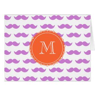 Lilac Mustache Pattern, Coral White Monogram Card