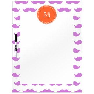 Lilac Mustache Pattern, Coral White Monogram Dry Erase Board