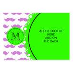 Lilac Mustache Pattern, Green Black Monogram Business Card
