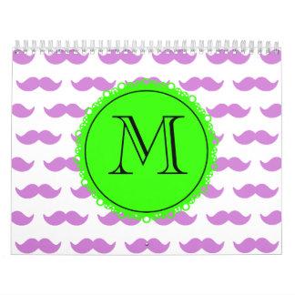 Lilac Mustache Pattern, Green Black Monogram Calendars