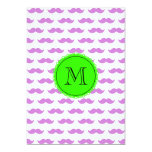 Lilac Mustache Pattern, Green Black Monogram Custom Announcement