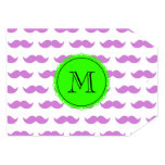 Lilac Mustache Pattern, Green Black Monogram Personalized Invitations
