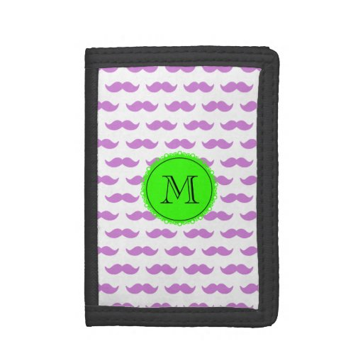 Lilac Mustache Pattern, Green Black Monogram Trifold Wallet