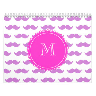 Lilac Mustache Pattern, Hot Pink White Monogram Calendar