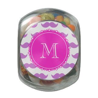 Lilac Mustache Pattern, Hot Pink White Monogram Glass Jars