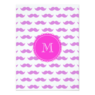 Lilac Mustache Pattern, Hot Pink White Monogram 5.5x7.5 Paper Invitation Card