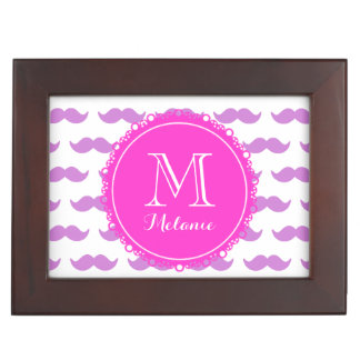 Lilac Mustache Pattern, Hot Pink White Monogram Memory Box