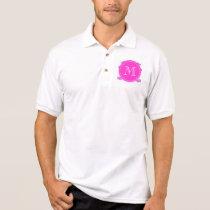 Lilac Mustache Pattern, Hot Pink White Monogram Polo Shirt