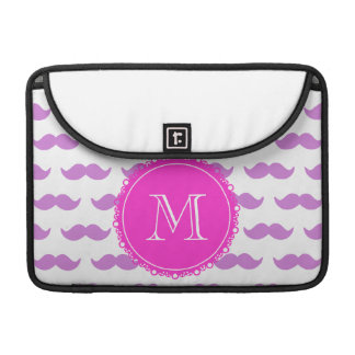 Lilac Mustache Pattern, Hot Pink White Monogram Sleeve For MacBooks