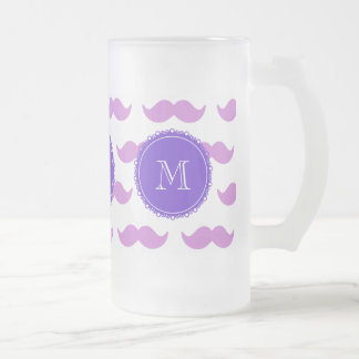 Lilac Mustache Pattern, Purple White Monogram Frosted Glass Beer Mug