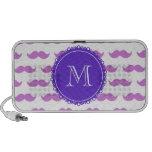 Lilac Mustache Pattern, Purple White Monogram Laptop Speaker