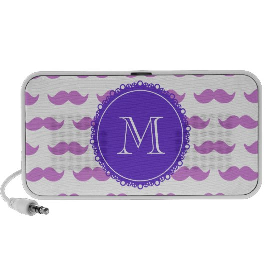 Lilac Mustache Pattern, Purple White Monogram Mini Speaker
