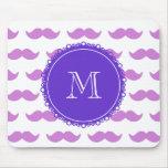 Lilac Mustache Pattern, Purple White Monogram Mousepads
