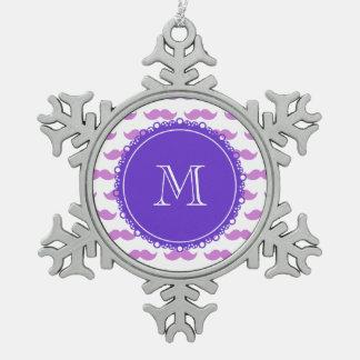 Lilac Mustache Pattern, Purple White Monogram Ornament