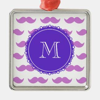 Lilac Mustache Pattern, Purple White Monogram Christmas Tree Ornament