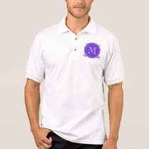Lilac Mustache Pattern, Purple White Monogram Polo Shirt