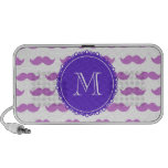 Lilac Mustache Pattern, Purple White Monogram Notebook Speakers