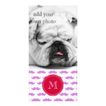 Lilac Mustache Pattern, Red White Monogram Card