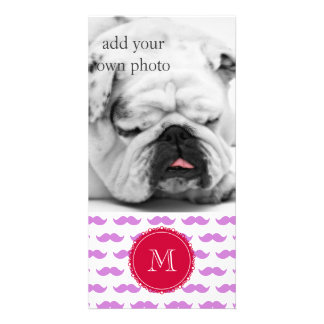 Lilac Mustache Pattern, Red White Monogram Photo Card