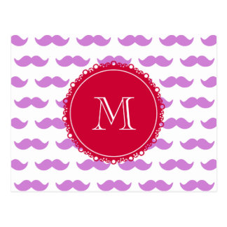 Lilac Mustache Pattern, Red White Monogram Postcard