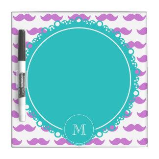 Lilac Mustache Pattern, Teal White Monogram Dry-Erase Whiteboard