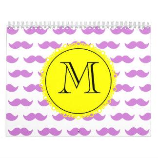 Lilac Mustache Pattern, Yellow Black Monogram Wall Calendars