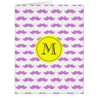Lilac Mustache Pattern, Yellow Black Monogram Card