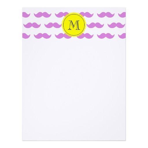 Lilac Mustache Pattern, Yellow Black Monogram Letterhead