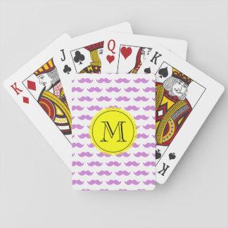 Lilac Mustache Pattern, Yellow Black Monogram Playing Cards