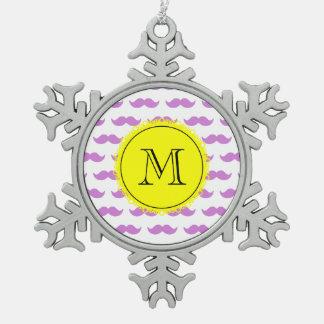 Lilac Mustache Pattern, Yellow Black Monogram Snowflake Pewter Christmas Ornament
