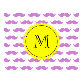 Lilac Mustache Pattern, Yellow Black Monogram Postcard