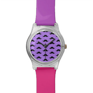 Lilac Mustaches Pattern Watch