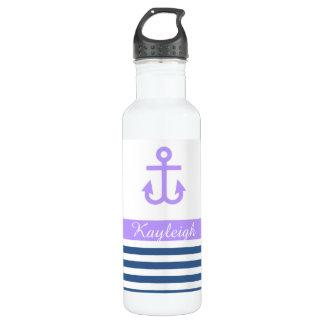 Lilac Navy Nautical Theme Water Bottle