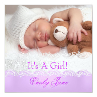 Lilac New Baby Girl Announcement Photo