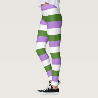 Lilac, Olive, White Stripe GenderQueer Pride Flag Leggings