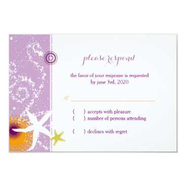 Beach Themed Lilac Orange White Beach Wedding RSVP Card