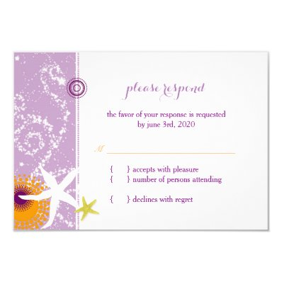 Lilac Orange White Beach Wedding RSVP 3.5x5 Paper Invitation Card